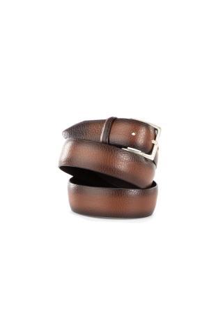 Cintura in vitello effetto spazzolato