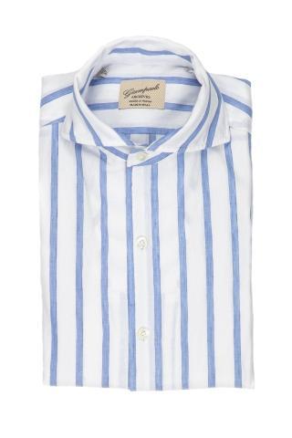 Camicia in lino-cotone collo paramontura