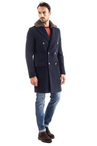 CAPPOTTO IN LANA-CASHMERE CON COLLO IN MONTONE