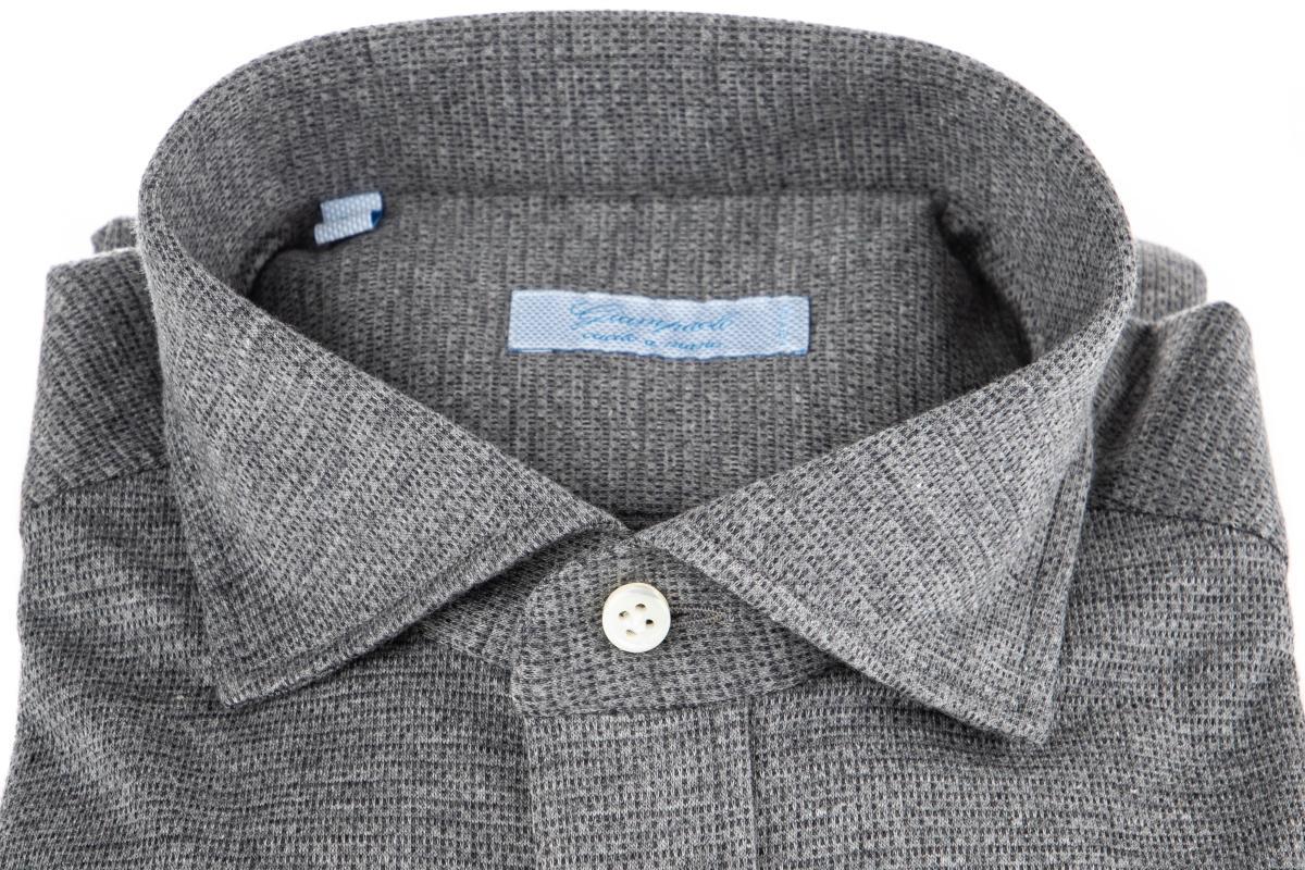 camicia sartoriale in jersey di cotone micro fantasia