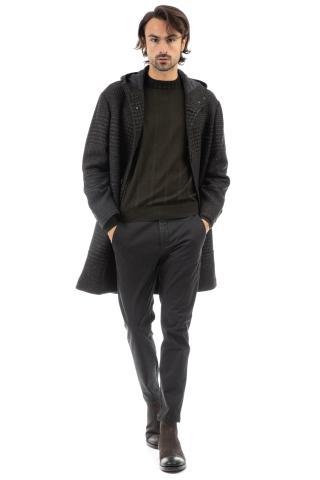 Cappotto in lana check con cappuccio