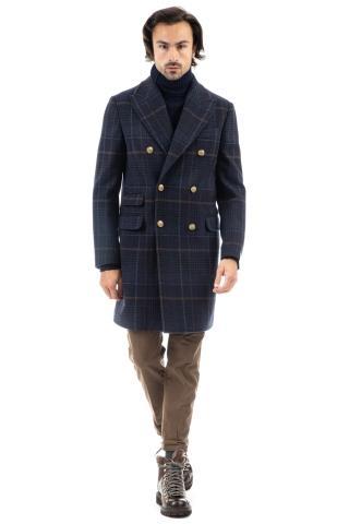 Cappotto doppiopetto in lana-cashmere check