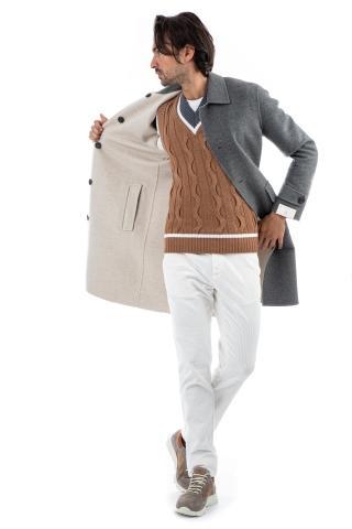 Cappotto reversibile in puro cashmere