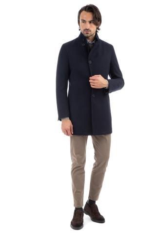 Cappotto in lana collo in piedi mod. gordon