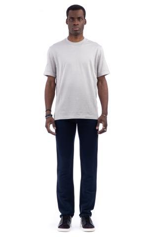 T-shirt girocollo in seta-cotone