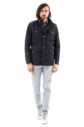 Field jacket in nylon con coulisse in vita