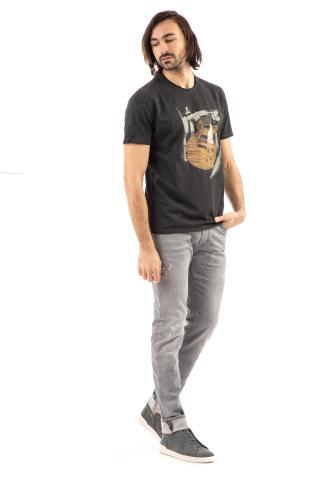 Tshirt in cotone con chitarra dipinta a mano
