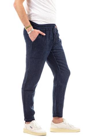 Pantalone in lino maltinto con coulisse