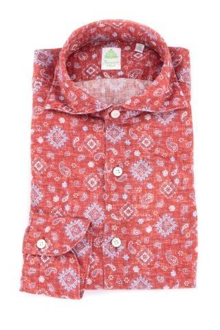 Camicia in lino disegno cashmere linea tokyo