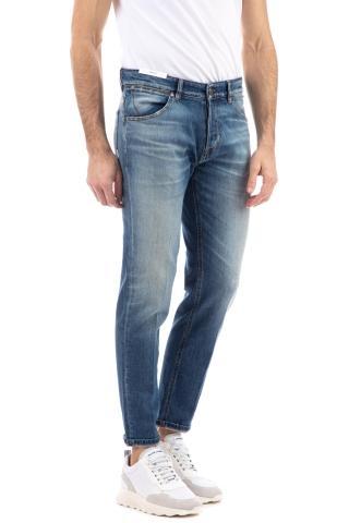 Jeans bianco micro rotture etichetta pelle beige