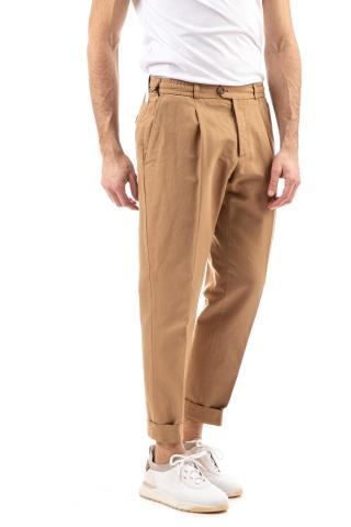 Pantalone in cotone-lino linea reworked con coulisse