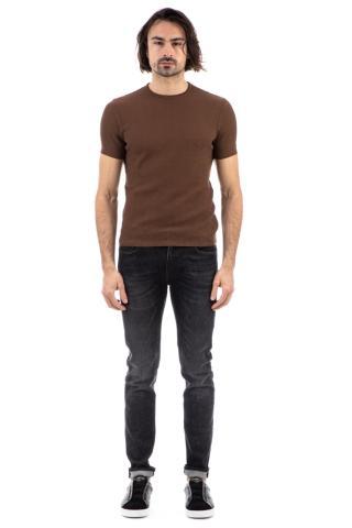 T-shirt alain delon punzonata in cotone collo roll