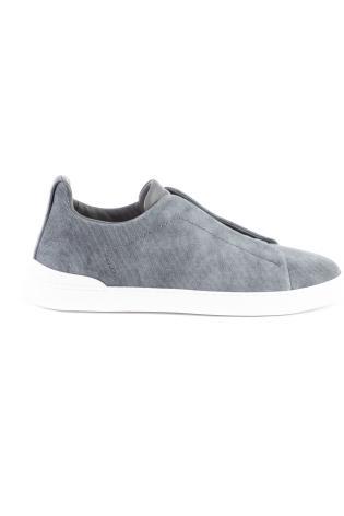 Sneakers triple stitch in cotone canvas con dettagli in pelle