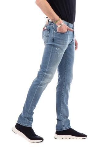 Jeans denim con rotture etichetta pelle beige j622slim comfort