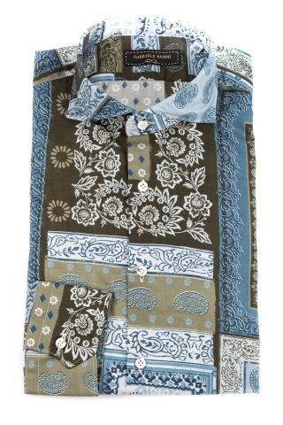 Camicia patchwork in cotone stampa esclusiva