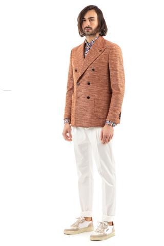 Giacca tramata doppiopetto in lana-cotone