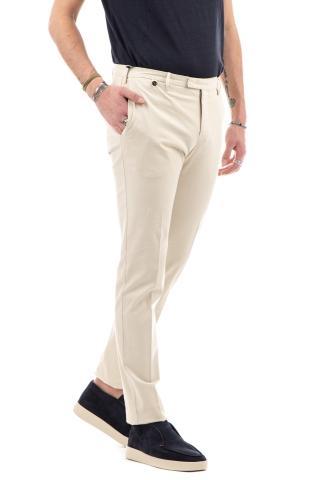 Pantalone in twill di cotone-lino stretch