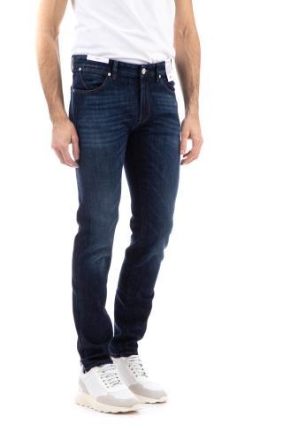 Jeans denim etichetta pelle marrone