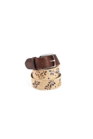 Cintura in cotone canvas con ricamo floreale