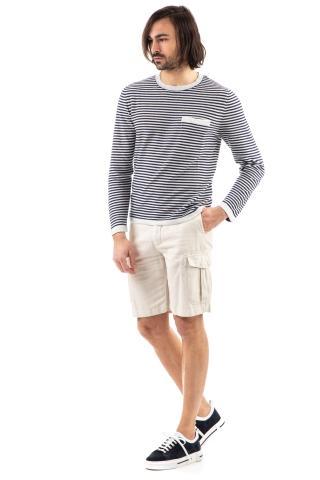 T.shirt in lino rigata manica lunga