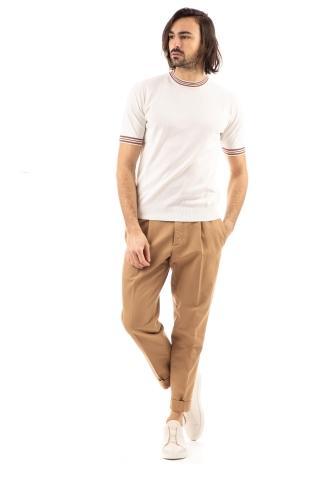 T-shirt in fine crepe di cotone con profili in contrasto