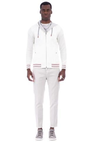Felpa-outerwear in cotone piquet con cappuccio