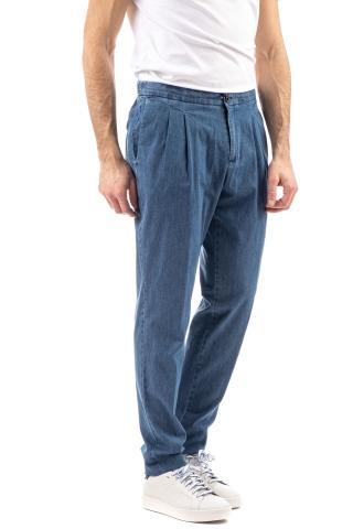 Pantalone in denim con elastico e doppia pence