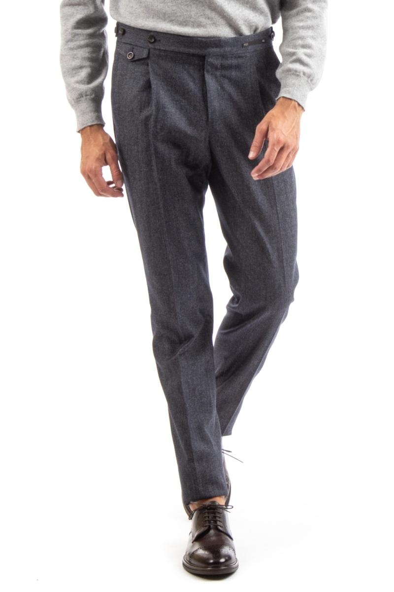 pantalone in lana-cotone con pences