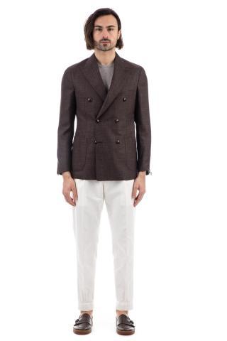 Giacca doppiopetto in lana-seta-lino