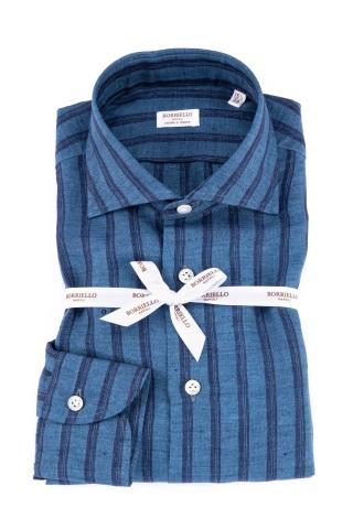 Camicia rigata in puro lino