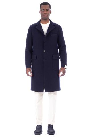 Cappotto monopetto in lana taglio vivo