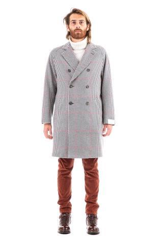 Cappotto check in lana-cashmere
