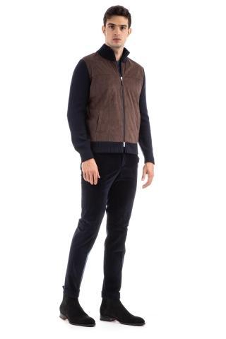 Maglia-giubbino in lana e alcantara