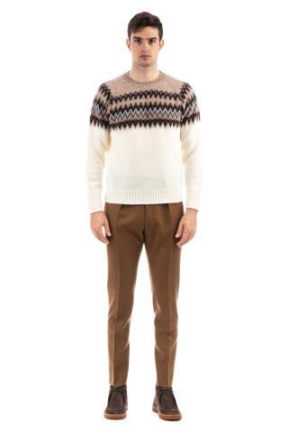 Maglia girocollo in lana con disegni nordici