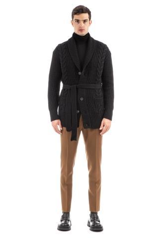Cardigan in lana con collo sciallato