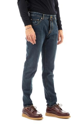 Jeans etichetta in pelle cognac scott fit