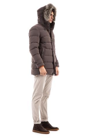 Parka in nylon con collo in pelliccia staccabile polar-tech