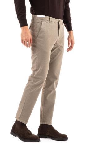 Pantalone in cotone stretch micro fantasia linea jungle