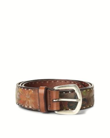Cintura in pelle dipinta a mano con borchie