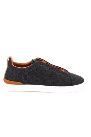 Sneaker triple stitch in pelle e flanella