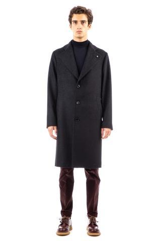 Cappotto monopetto in lana-lama