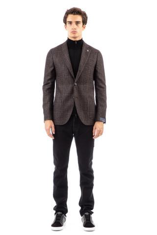 Giacca principe di galles in lana-lino-cashmere