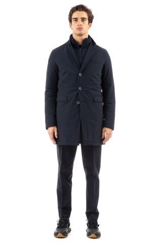 Cappotto in nylon stretch con colletto staccabile