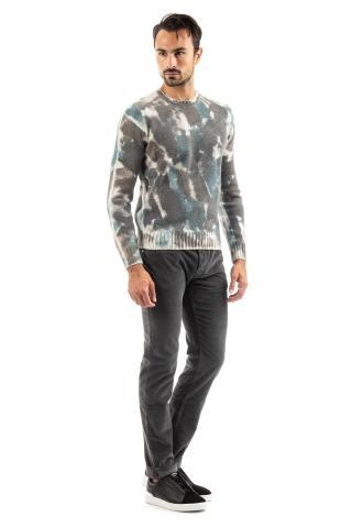 maglia girocollo in lana-cashmere effetto camouflage