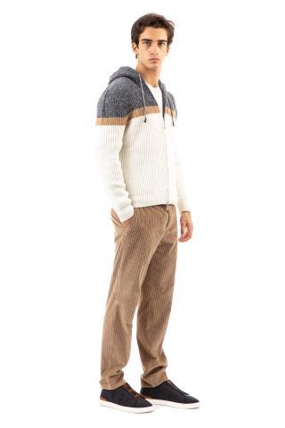 Cardigan full zip in lana color block