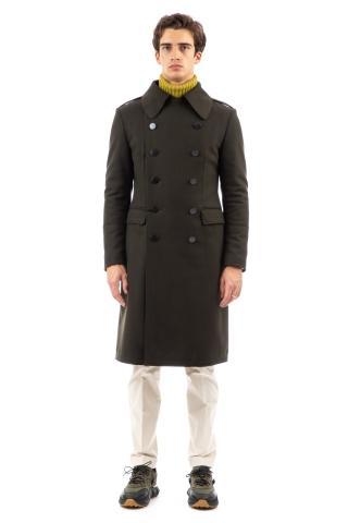 Cappotto military in lana doppiopetto