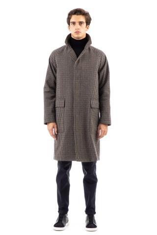 Cappotto monopetto in lana pied poule