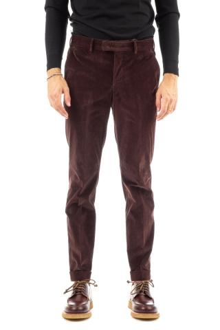Pantalone soft touch in velluto mille righe master fit