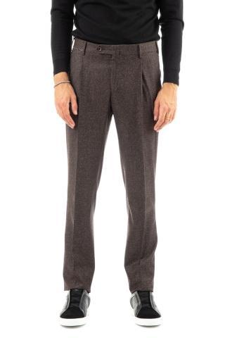 Pantalone in lana-seta micro donegal slim 2 pences