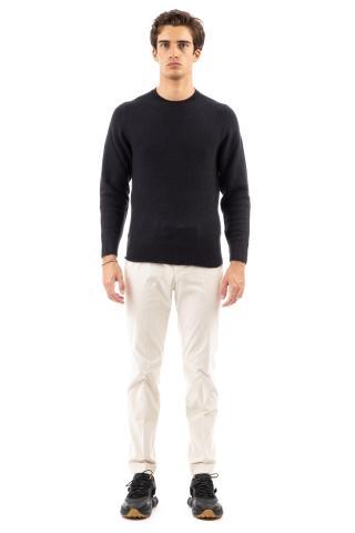 Maglia girocollo garzato in lana-seta-cashmere finezza 7